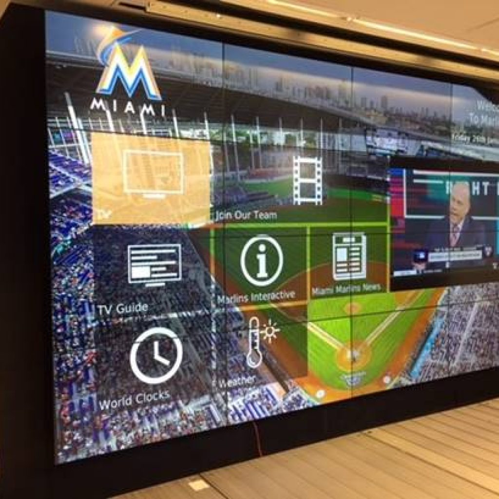 4x4 Video Wall from Intermedia Touch at Miami Marlins Press Room.